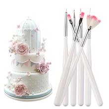7 sztuk ciasto kremówka pędzel do malowania ciasto kremówka Cupcake dekorowanie malowanie odkurzanie szczotka lukier ciasto ciasto cienki pędzelek narzędzie do majsterkowania