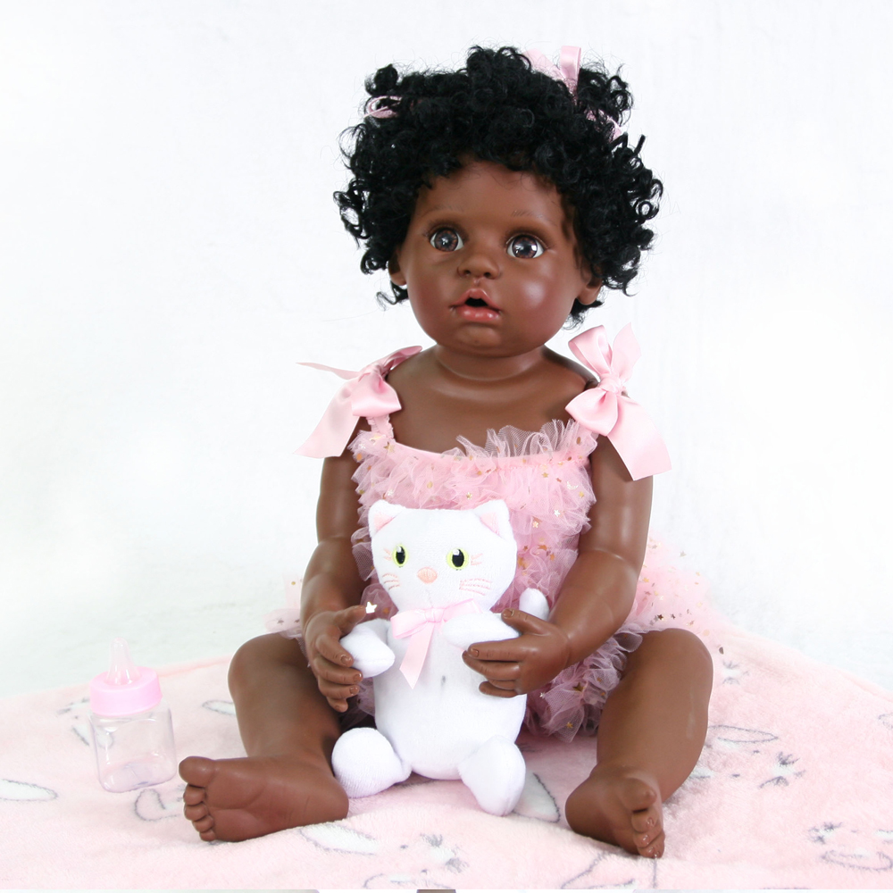 56cm Full Body Silicone Reborn Baby Doll Toy 22inch Black Skin Newborn Girl Princess Toddler Babies Doll Child  Toy bebe doll56cm Full Body Silicone Reborn Baby Doll Toy 22inch Black Skin Newborn Girl Princess Toddler Babies Doll Child  Toy bebe doll