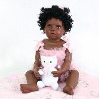 56cm Full Body Silicone Reborn Baby Doll Toy 22inch Black Skin Newborn Girl Princess Toddler Babies Doll Child Toy bebe doll