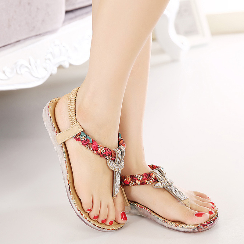 Women Sandals Bohemia Women Casual Shoes Sexy Beach Summer Girls Flip Flops Gladiator Fashion Cute Women Flats Sandals ABT538 casual bohemia women platform sandals fashion wedge gladiator sexy female sandals boho girls summer women shoes bt574