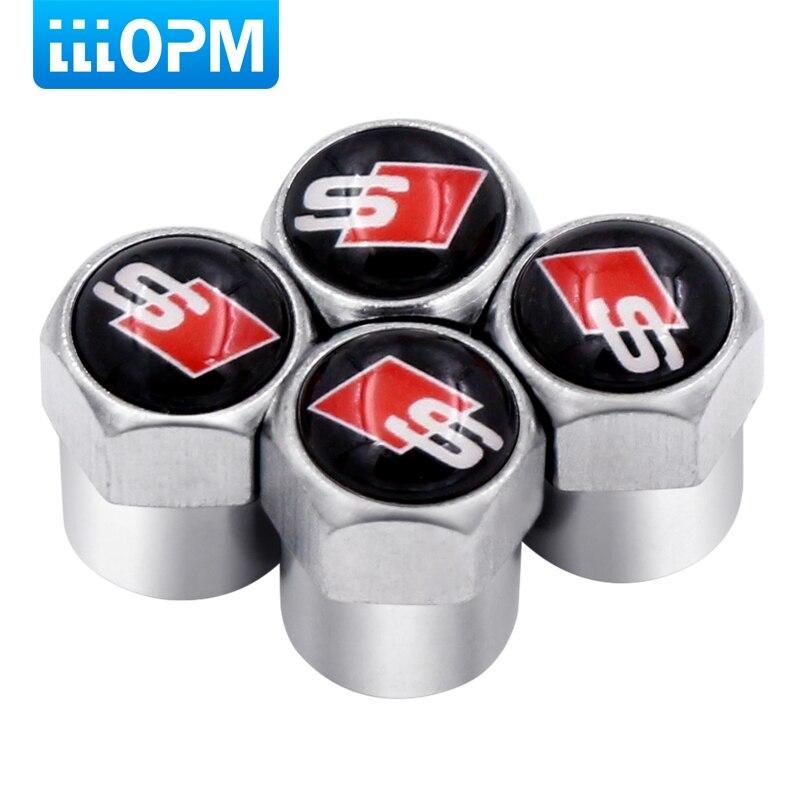 Car Styling Auto Valves Caps Case For Audi Sline A6 C5 A4 B6 A4 B8 A4 B7 A4 B5 A6 C6 S Line A3 A5 Q5 Car-Styling 4pcs/lot