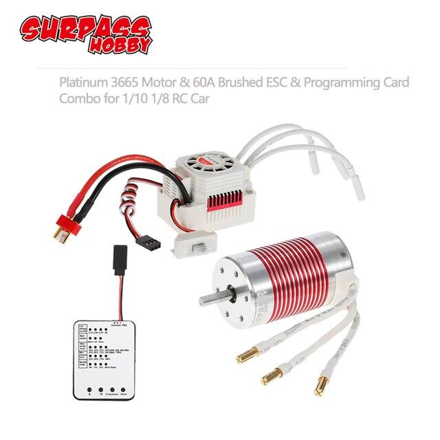 Motor sin escobillas SURPASSHOBBY Platinum, 3665 3100KV 2600KV 2100KV con tarjeta de programación ESC de 60A para Traxxas Axial