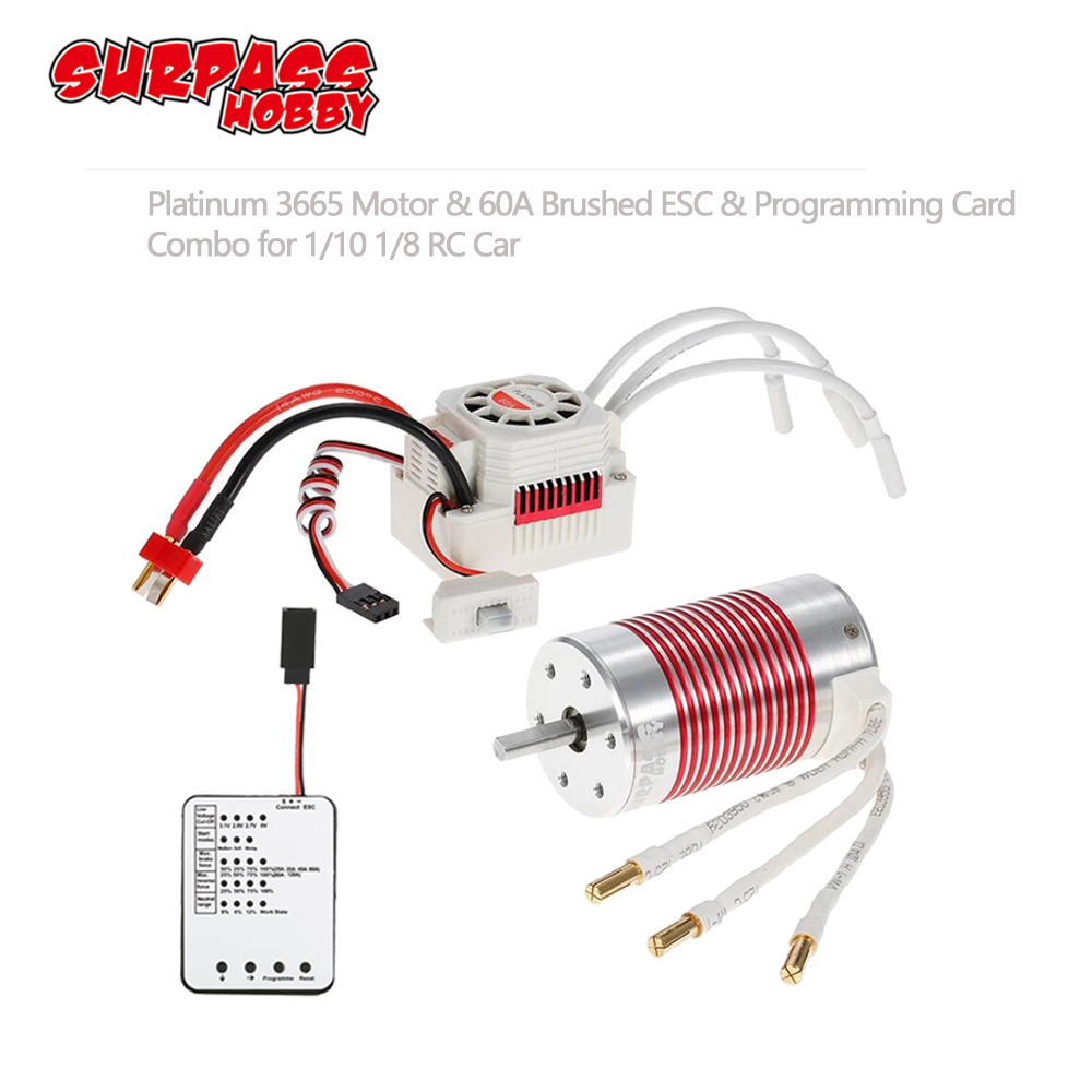 SURPASSHOBBY Platinum Waterproof Combo 3665 3100KV 2600KV 2100KV Brushless Motor w/ 60A ESC Programming Card for Traxxas Axial-in Parts & Accessories from Toys & Hobbies