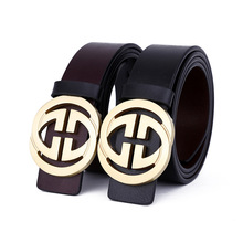 Double G Designers Luxury Cowhide Brand Genuine Leather Pin Gold Buckle Belts for Mens High Quality Male Cowskin Cei jeans belts