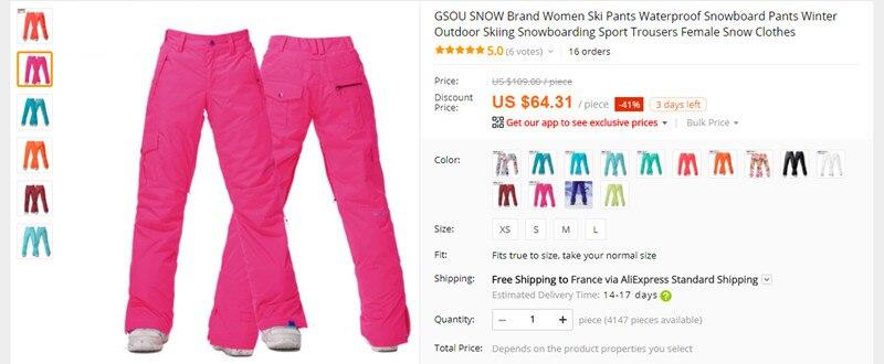 7e90c8479e7 GSOU SNOW Brand Ski Suit Women Ski Jacket Pants Waterproof Snowboard ...