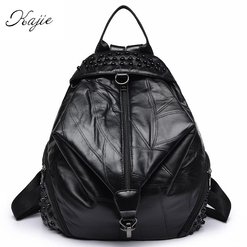 Kajie Fashion Girl Backpack Shoulder Multifunctional Chest Bag Leather Women Soft Sheepskin Genuine Leather Lady Back Pack