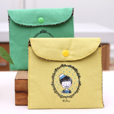 Retro childhood health cotton bales napkin bag health bag sanitary napkins sanitary pad storage bag 13*12.5cm