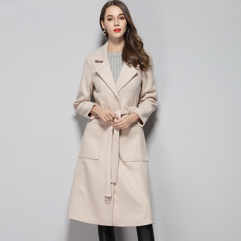 2018 зимнее пальто Для женщин широкий отворот карман Полушерстяное пальто Oversize длинный кашемировый Тренч шерстяное пальто Для женщин 1636 К