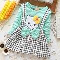 2017 primavera verão kt gato baby girl dress manga comprida 1 ano bebê aniversário dress cinta xadrez vestidos da menina infantis