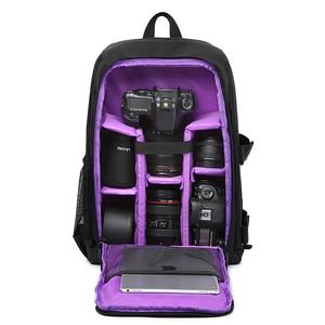 Image 2 - Waterproof Functional DSLR Backpack Camera Video Bag w/ Rain Cover SLR Tripod Case PE Padded for Photographer Canon Nikon