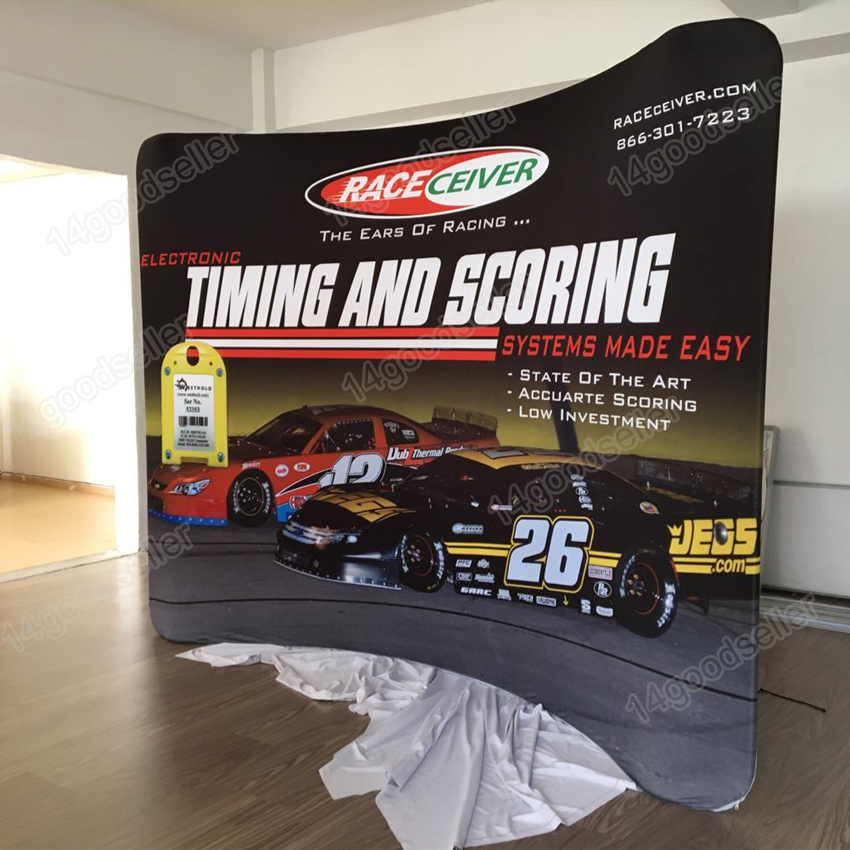 Ft Tension Fabric Curved Trade Show Display Stand Booth Pop Up - Car show wheel display stands