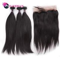Silkswan Indian Straight Human Remy Hair 2 Bundles With 360 Lace Frontal Deal 3PCS One Pack Indian Hair Weaving Bundle