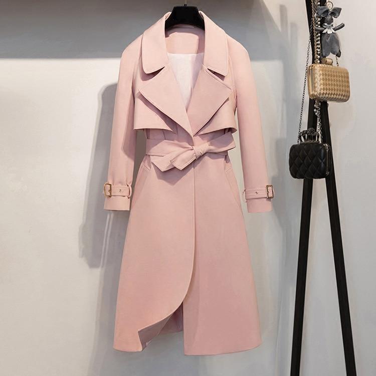 Classic Women Elegant Medium Long Solid Color Trench 2018 Autumn New Ladies Wind Coats