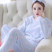 Thickened Pullover Pajamas Set Girls Warm Coral Fleece Home Clothing Ladies Flannel Pajamas Top+Pants+Headband Winter Sleepwear