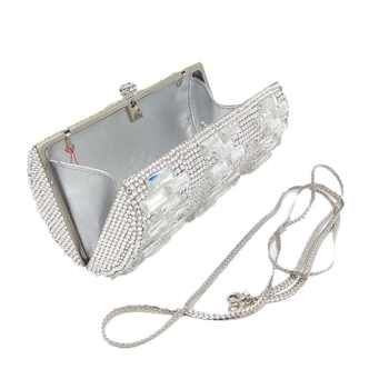 Luxury Clear Silver Crystal Evening Bags Women Party Dinner Clutch Bag Wedding Bridal Metal Clutches Rhinestones Handbags Purses