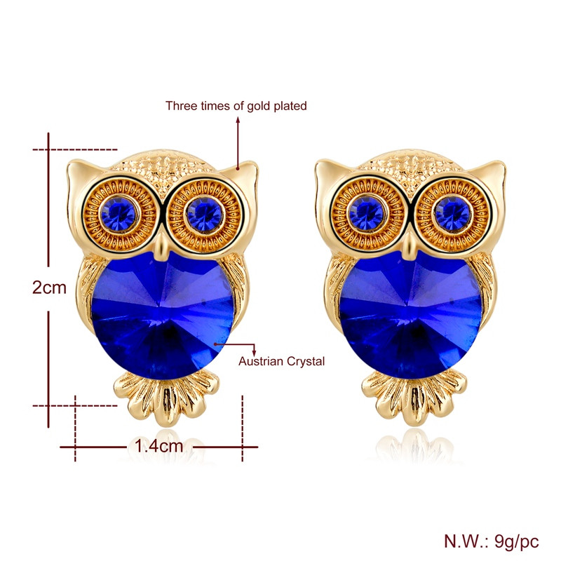 Crystal Gold Plated Owl Earrings