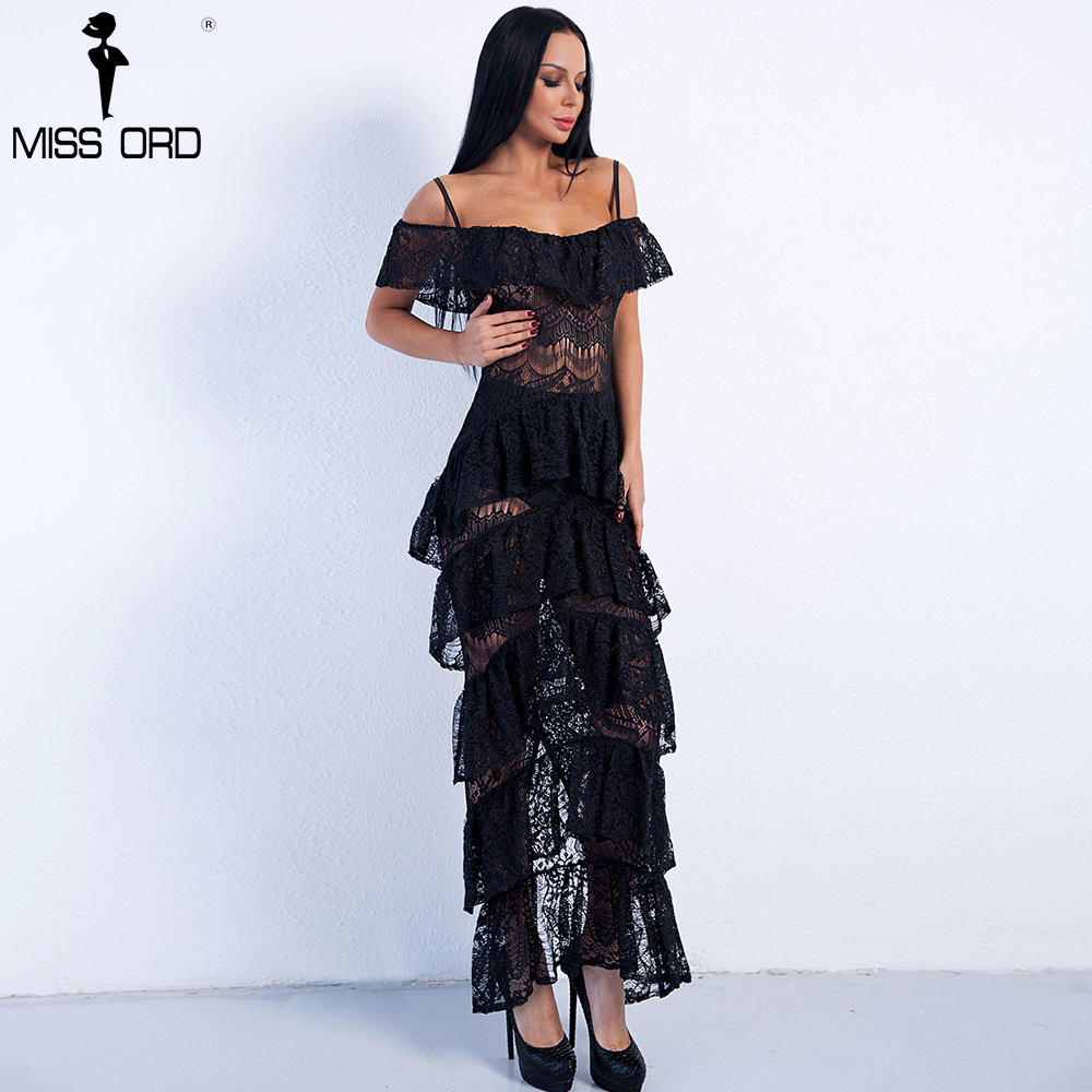 Missord 2018 Sexy Lace Dresses Female Ruffles Maxi Split Party straps Dress FT8894-1