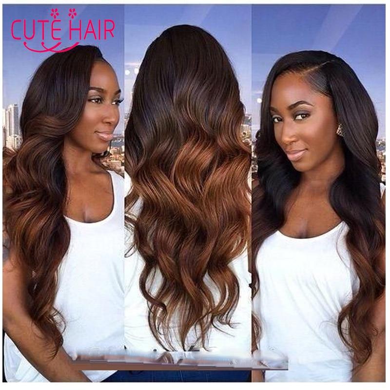 Ombre Human Hair Extension 2 Tone Color Brown Brazilian