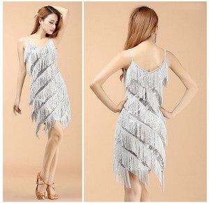 Image 4 - Di alta qualità sexy della nappa di ballo latino del vestito frangia costumi di ballo latino per le donne in vendita