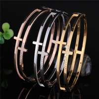 Fashion Stainless Steel Women PVD Gold Filled Bangles Bracelet Rose Gold Cross Designer CZ Crystal Femme