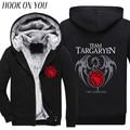 2017 Winter Games of Thrones Men Fleeces A Song Of Ice And Fire Targaryen Print Thicken Hoodies Hipster Coat Thermal Sweatshirts