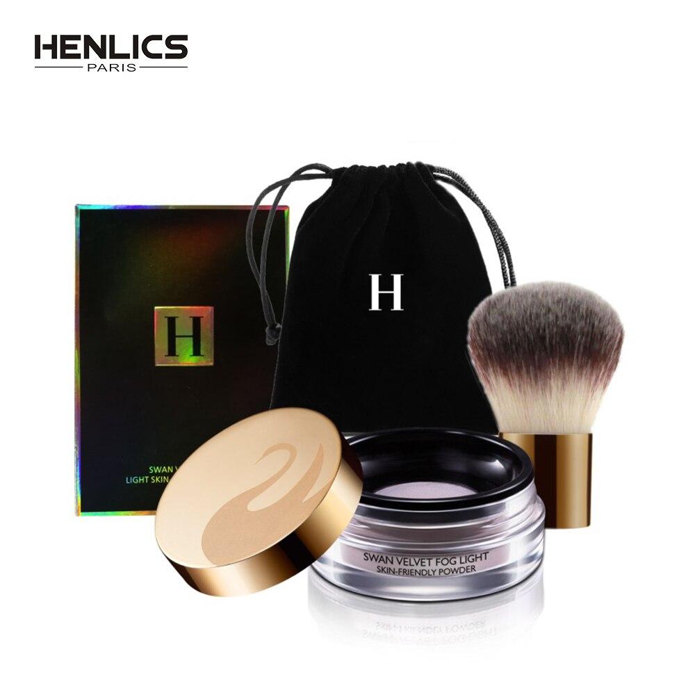 HENLICS 24 Heures Longue Durée de Velours Lâche Poudre Anti-cernes avec Maquillage Brosse 2 pcs/lot Huile-contrôle Lâche Maquillage Minéral poudre