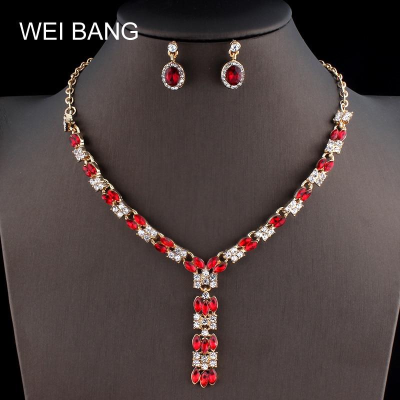 Jewelry-Sets Wedding-Dress Rhinestone Elegant Earrings Bridal New Gold-Color