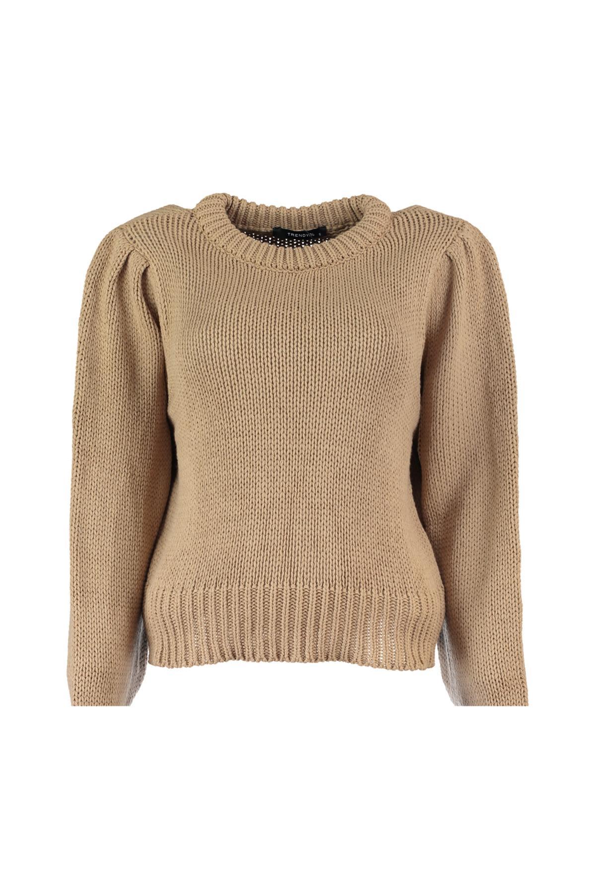 Trendyol WOMEN-Camel Handle Piliseli Knitwear Sweater TWOAW20ZA0022
