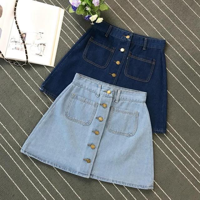 On sale 2019 Summer Skirt Womens A-line Denim Blue Mini Skirt High Waist Jeans Harajuku Pockets Jeans Skirt Button Open White 2