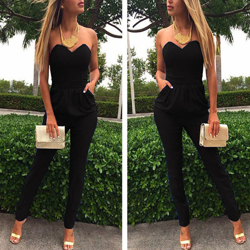 2020 Elegant Autumn summer romper women jumpsuit strapless Solid club sexy fashion tunic Pocket backless long Party Maxi overall