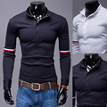 Mens Polo Shirt Brands 2017 Male Long Sleeve Fashion Casual Slim Sleeve Stripes Polos Men  Jerseys    2XL OUREB