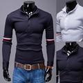 Mens polo marcas camisa de 2017 hombres de manga larga moda casual delgado rayas de manga polos camisetas 2xl oureb