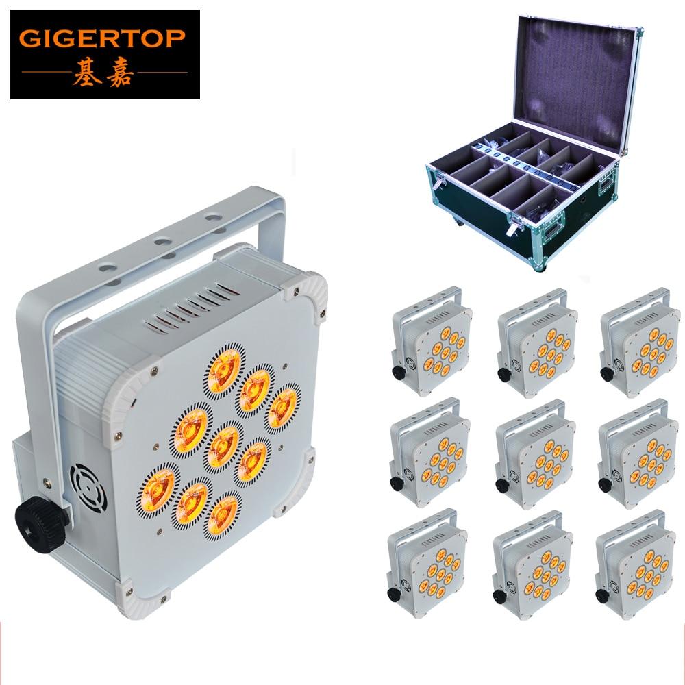 10pcs / lot 9x18W RGBWA UV 6IN1 Flat Led Par Light Aluminium White Housing Battery DMX512 Wireless PCB Receiver 2.4G Flight Case
