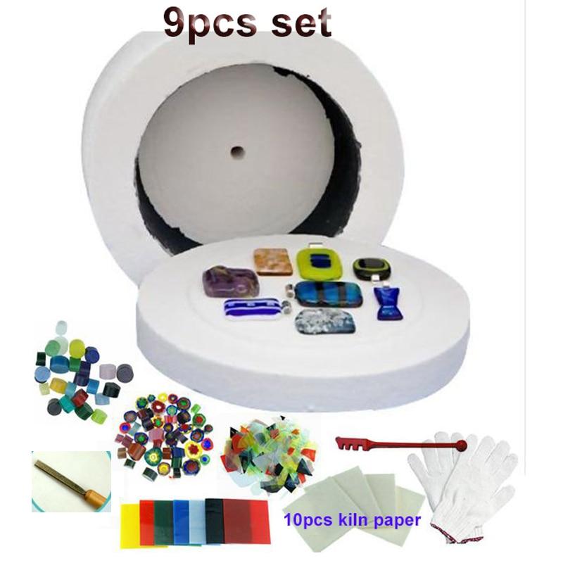 New Large Size 9Pcs Set Microwave Kiln Glass Fusing Diy Tools Fit For Fuseword Microwave Kiln Kit Art Work
