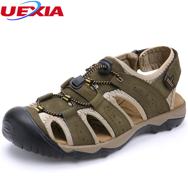 UEXIA Brand Leather Summer Soft Male Sandals Shoes For Men Breathable Light Beach Casual Quality Walking Non-slip Casual Outdoor