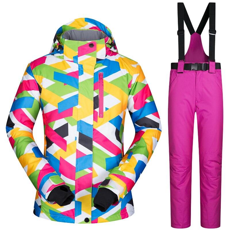 LIVRAISON GRATUITE 2018 Nouveau Ski Veste Femmes Haute Qualité Neige Veste Épais Chaud et Imperméable et Coupe-Vent Ski Snowboard Veste + pantalon