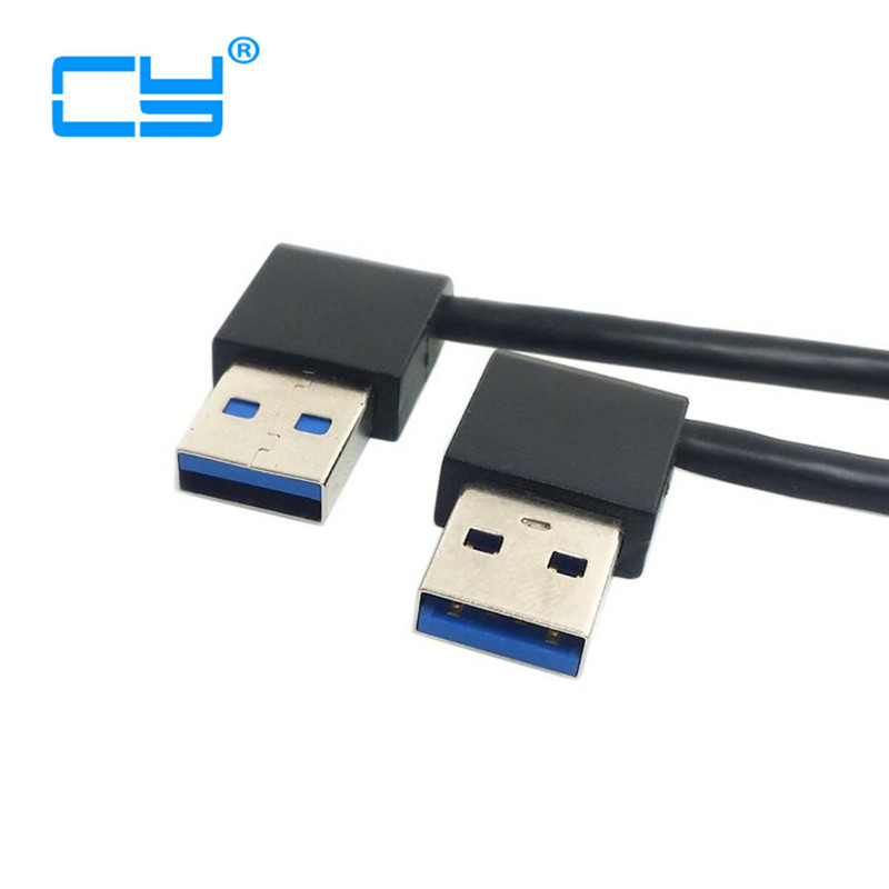 USB3.0 USB 3.0 Type A Male 90 Degree Left Angled to Right Angled Extension Cable Straight Connection 50cm 0.5m usb 3 0 back panel mount b type female to right angled 90 degree b type male extension cable 0 3m 30cm 1ft with screw