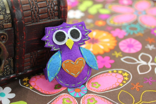 12 pcs/lot, Felt Owl Hair Clip For Children Christmas Hair Accessories, Free Shipping