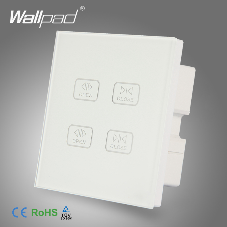 4 Gang Curtain Switch Wallpad White Crystal Glass Switch Touch Screen Double Curtain Window Shutter Blinder Wall Touch Switch remote control wall switch white electric curtain switch and touch switch