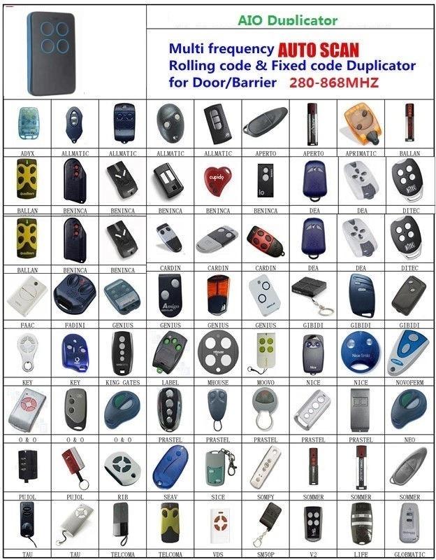 CHAMBERLAIN /LIFTMASTER/MOTORLIFT  AIO SCAN  Rolling code & Fixed Code 280-868 Mhz DuplicatorCHAMBERLAIN /LIFTMASTER/MOTORLIFT  AIO SCAN  Rolling code & Fixed Code 280-868 Mhz Duplicator