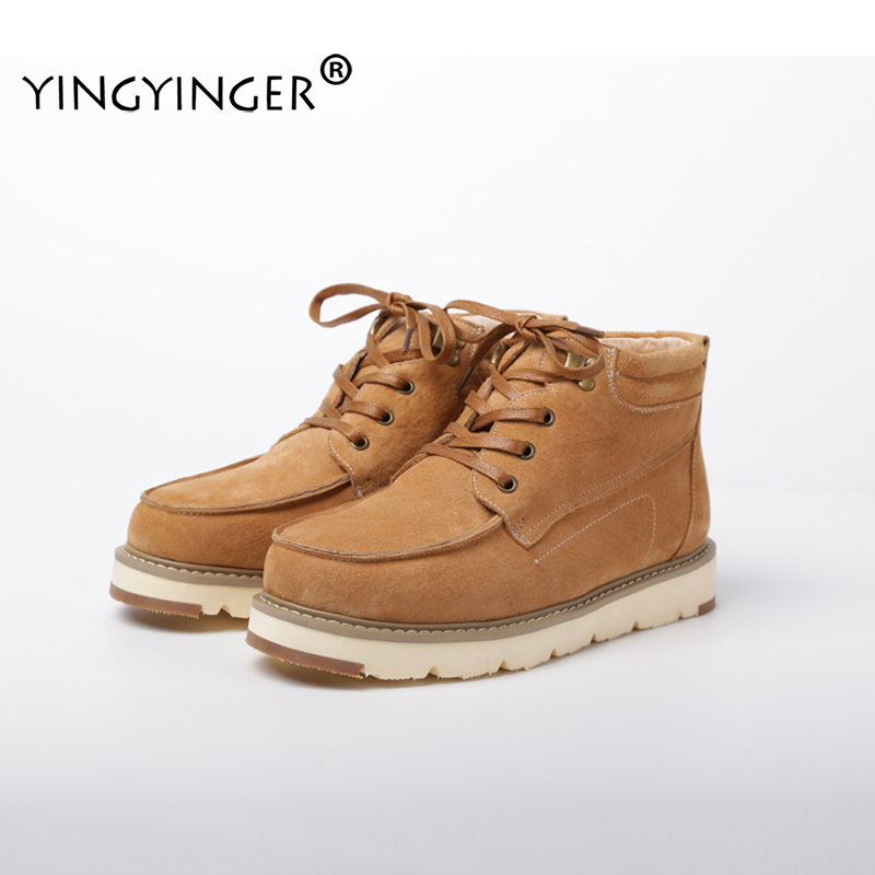 YINGYINGER Men's Fur Boots Winter Warm Custom Ankle Snow Boots Lace Up Men Plush Boots Casual Sheepskin Fur Custom Boots For Men batman led fidget spinner edc anti stress toys finger spinner brass hand spinners focus keeptoy and adhd lights glow spinners