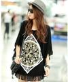 2016 nuevo más el tamaño Camiseta para las mujeres impreso top túnica floral de verano vintage camiseta para mujer de la camisa Traje: 4XXXXL ~ 5XL negro, blanco