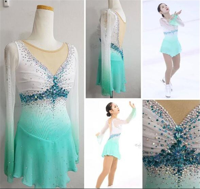 Figure Skating Dress Women's Girls' Ice Skating Dress Competitive performance clothing Round neck long sleeve White light blue