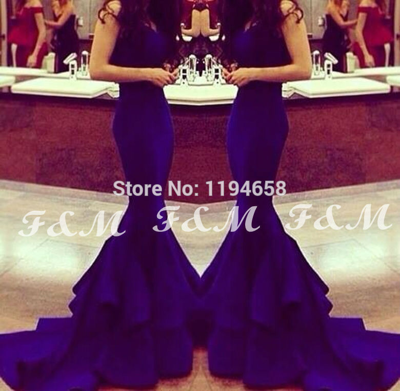 2016 Royal Blue V neck Prom font b Dresses b font Mermaid Long Sexy font b
