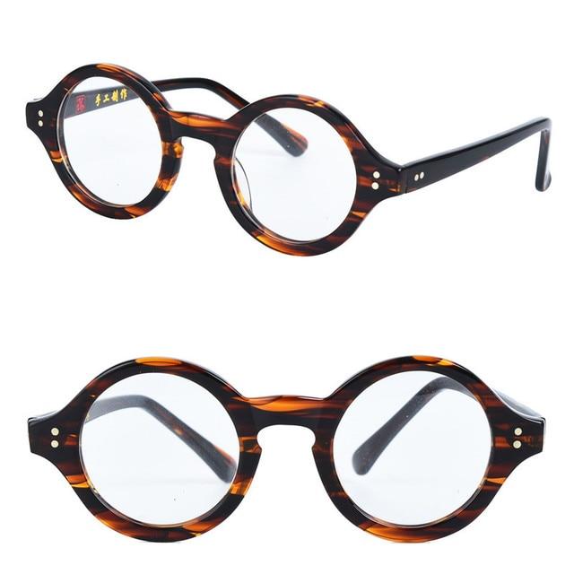 77904e8e41a Cubojue Small Round Glasses Acetate Men Women Tortoise Vintage Eyeglasses  Frame for Man Myopia Diopter Optical