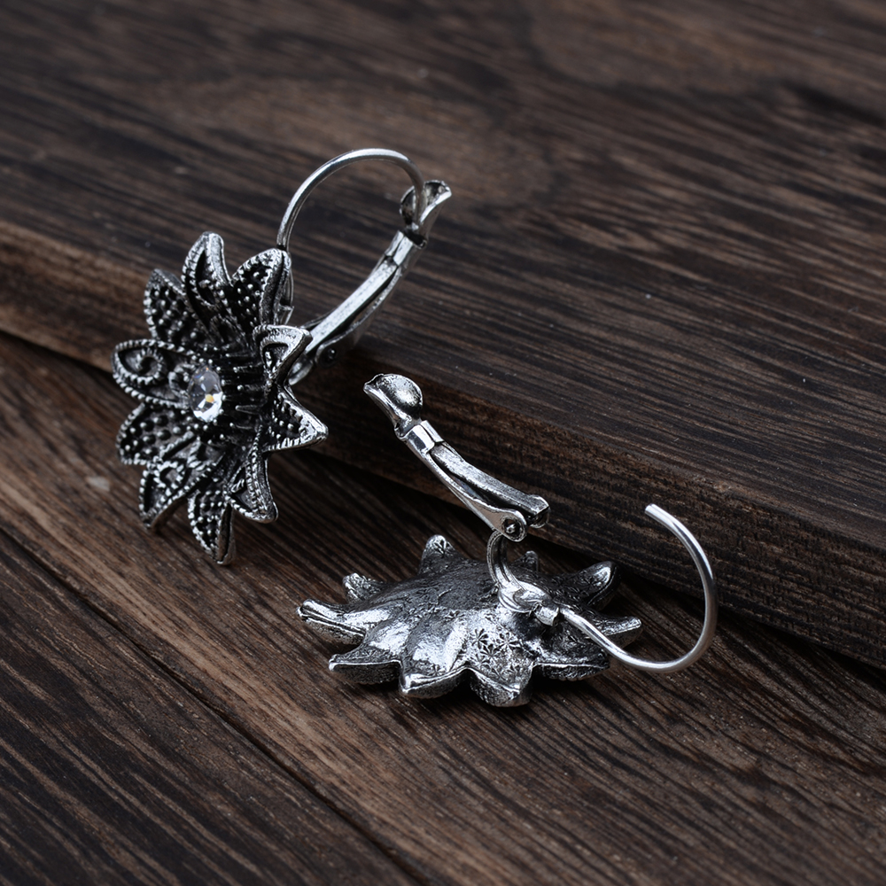 MYTHIC AGE Tibetan Silver Color Carved Flower Vintage Ethnic Drop Dangle Earrings Retail Jewelry Jewellery Gift For Women Girls 17