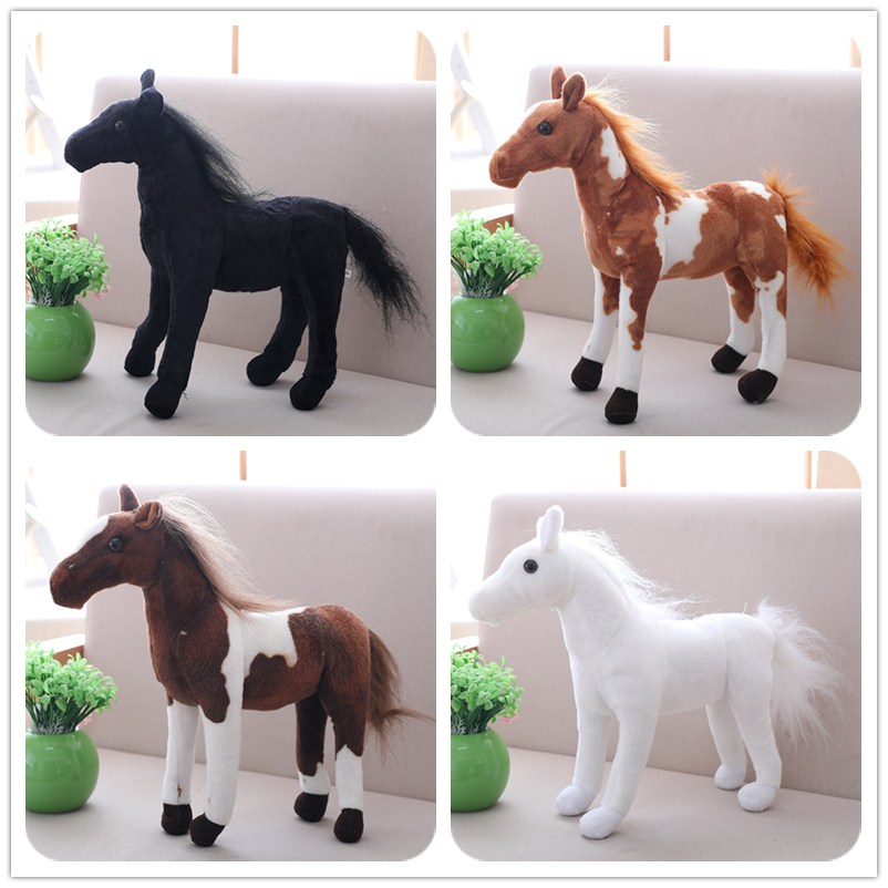7Styles 1pc 30-40cm Simulation Horse Plush Toys Cute Staffed Animal Zebra Doll Soft Black& White Horse Toy Kids Birthday Gift