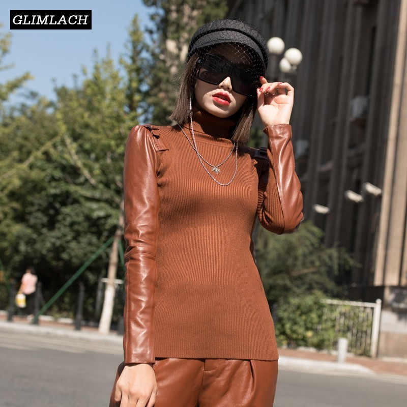 Women Knitting Sweater Spliced Real Leather Long Sleeve Slim Harajuku Turtleneck Pullovers Female Skinny Ladies High Neck Tops