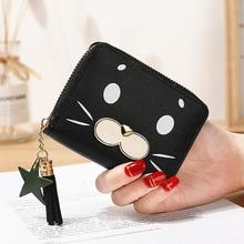 Wallet female short cute zipper cartoon seal  student print lady change clip single pull кошелек женский leather