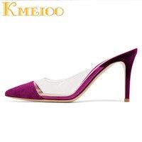Kmeioo 2018 Fashion Transparent Women Shoes Buckle Strap Clear Sandals Open Toe High Heel Mules Evening Wedding Ladies Shoes